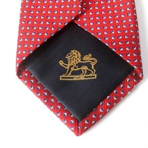 Other - Red ribbed tie with Silver & blue triangles